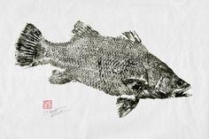 BARRAMUNDI GYOTAKU - traditional Japanese fish art - by dowaito