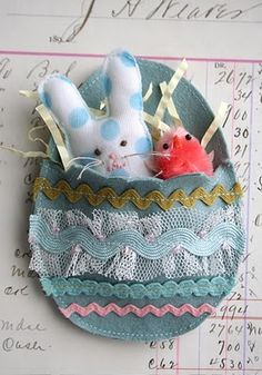 We made the bunny - gave them each one in their baskets - they became treasures.  Gave to my neice and nephews too.  The girls had fun sewing their own as gifts for friends.