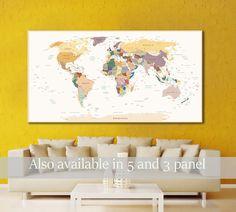 Push Pin World Map Canvas Print World Map Wall Art World Map