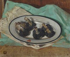 William Nicholson, Mushrooms on a Plate, 1923 Some still life paintings Painting Still Life, Still Life Art, Paintings I Love, Your Paintings, Food Painting, Painting & Drawing, William Nicholson, Winifred Nicholson, Plate Art