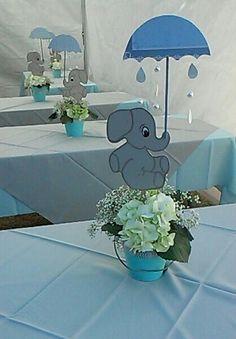 My centerpiece,baby shower elephant theme