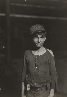 A typical Glass Works Boy, Indiana, Night Shift, Said he was 16 years old. 1 A. Bw Photography, History Of Photography, Documentary Photography, Vintage Photography, Vampire Kids, Moma Collection, Lewis Hine, Film Studies, Gelatin Silver Print