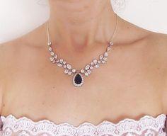 saphire bridal necklace blue crystal wedding necklace