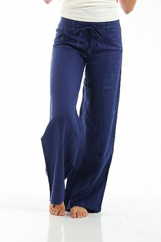 Button Linen Pants, light navy