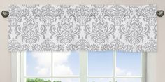 Pink, Gray and White Elizabeth Window Valance by Sweet Jojo Designs - Click to enlarge