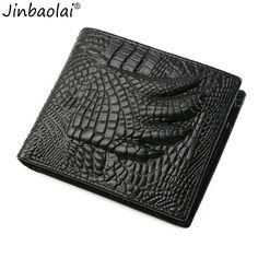 JINBAOLAI Men Vintage Crocodile Patten Coin Money Bag Leather Solid Color Money Card Wallet Men Coin Pocket New Photo Holder  #Affiliate