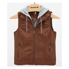Ashley Hooded Vest ($45) ❤ liked on Polyvore featuring outerwear, vests, jackets, vest waistcoat, brown waistcoat, zip up vest, faux leather vest and hooded vest