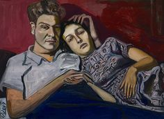 """huariqueje: """" Sue Seely and her Husband - Alice Neel, 1948 American 1900-1984 oil on canvas """""""