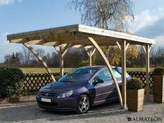Carport en épicéa pour 1 voiture. 16.32 m². Modèle : Milano. Dimensions : 510 x 320 x 259 cm.