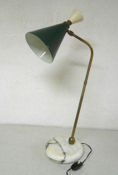 Dettagli su Lampada da tavolo vintage, Stilnovo design anni 50, alluminio e o...