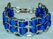 HAND CRAFTED SODA TAB BRACELET BLUE RIBBON & SILVER PLATED LOBSTER CLASP