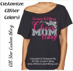 85f98f1e8247 Bows and Bling Its a Cheer Mom Thing Off Shoulder Shirt