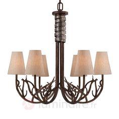 Brambles - lustre aspect bois à six lampes, référence 8532249 - Lustres pour tous les styles à découvrir chez Luminaire.fr !
