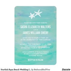 Starfish Aqua Beach Wedding Invitations Design features two white starfish against an airy backdrop of turquoise watercolor strokes. Perfect for beach or destination weddings! Coordinating accessories available in our shop.