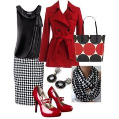 Business wear - red, black and white - Polyvore