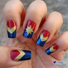 "Used ""Ruby Slippers"" & ""Gold glitter"", as well as ""Super-Powered"". brie larson M C Marvel Studios News Marvel Nails, Avengers Nails, Pedicure Colors, Manicure E Pedicure, Nail Colors, Christmas Manicure, Holiday Nails, Cute Nail Art, Cute Nails"