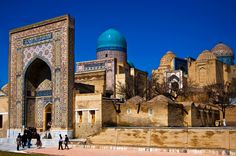 """Shah-i-Zinda - The Shah-i-Zinda Ensemble includes mausoleums and other ritual buildings of 9-14th and 19th centuries. The name Shah-i-Zinda (meaning """"The living king"""") is connected with the legend that Kusam ibn Abbas, the cousin of the prophet Muhammad was buried there."""