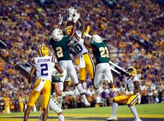 11 LSU struggles in stints, defeats SE Louisiana Lsu Tigers Football, Football Helmets, Southeastern Louisiana, College Football Games, Defensive Back, Jordan 23, Wide Receiver, Purple, Gold