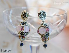 FREE TUTORIAL for BEADED BEAD EARRINGS. Use: Rose Quarts rounds 8mm, Hematite rounds 4mm, oval faceted beads, seed beads 10/0, earring findings, ball pins