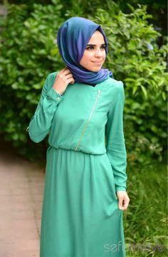Tesettür Elbise 53046-08 Açık Yeşil