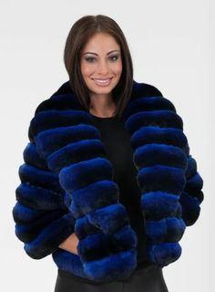 dyed blue chinchilla fur jacket