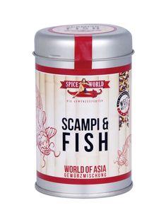 WORLD OF ASIA - SCAMPI & FISH  Die einzigartige World of Asia – Scampi & Fish Gewürzkomposition von SPICEWORLD enthält alles, was den Eigengeschmack von Meerestieren und Fisch zur vollen Entfaltung bringt. Das asiatische Gewürz überzeugt mit seiner satten Ockerfarbe, einem zitronigen und kräftig-würzigen Geschmack, abgerundet mit mildem Chili und erfrischenden Szechuanpfeffer. #worldofasia #asiatisch #matcha #asia #stayspiced #spiceworld Sashimi, Matcha, Coffee Cans, Seafood, Spices, Noodles, Canning, Drinks, Chili
