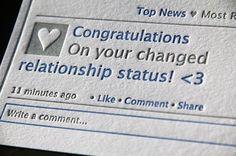 Facebook Printed Relationship Status Change