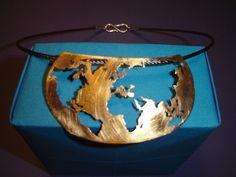 Bronze necklace World , Steel, Silver , Goldsmith, Bronzo, collana Mondo, Acciaio, Argento.