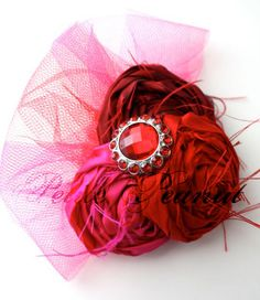 red rosettes and tulle headband