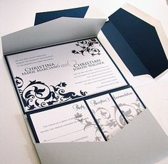 Absolutely love everything about this pocket styled invitation with a royal blue, grey and white color scheme.