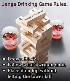 Rules for Playing the Jenga Drinking Game at Your Next Blowout - House Party - The Effective Pictures We Offer You About drinking games for 2 A quality picture can tell you many things. You can find the most beau Jenga Drinking Game, Drinking Game Rules, Outdoor Drinking Games, Drinking Games For Parties, Adult Party Games, Adult Games, Bachelorette Party Drinking Games, College Party Games, Halloween Drinking Games