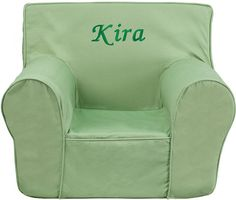 Flash Furniture DG CH KID SOLID GRN EMB GG Personalized