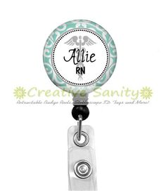 Personalized Nurse Retractable ID Badge Holder, Teal Scroll Border & Caduceus Sign, Choice of Badge Reel,Carabiner,Lanyard, or Steth ID Tag by CreativeSanity on Etsy