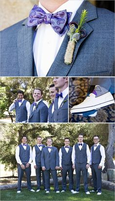 purple groomsmen attire. love the no jacket look!