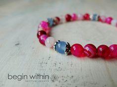 Love & Accept Yourself Energy Bracelet - Pink Agate, Aquamarine   #yoga #meditation #malabeads #malabracelet