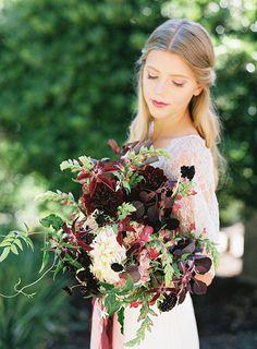 Burgundy and cream garden style fall bridal bouquet ~ we ❤ this… Fall Wedding Boquets, Blush Pink Wedding Flowers, Burgundy And Blush Wedding, Bridal Bouquet Fall, Winter Wedding Flowers, Wedding Flower Decorations, Bridal Flowers, Autumn Wedding, Floral Wedding