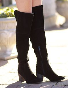 9fbc3dfa0d Black Over the Knee Suede Boots from Cousin Couture. Chunky Boots, Suede  Boots,
