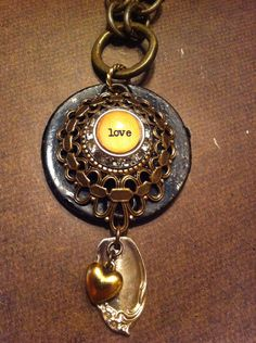 LOVE Vintage Escutcheon Necklace with Silver Spoon and Gold Puff Heart on Etsy, $52.00