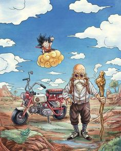 Kid Goku and Master Roshi Dragon ball Dragon Ball Gt, Manga Anime, Anime Art, Dbz Characters, Kairo, Image Manga, Fan Art, Awesome Anime, Cool Art