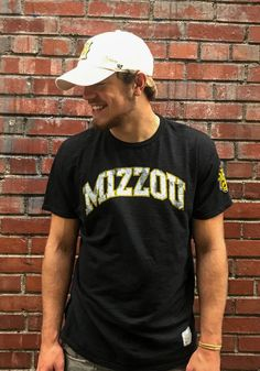 2be659165c6 Original Retro Brand Missouri Tigers Black Arch Short Sleeve Fashion T  Shirt