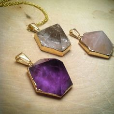 These gorgeous Crystal  Pyramid Necklaces are now available in AMETHYST, CRYSTAL QUARTZ, ROSE QUARTZ AND BLACK AGATE! A little something for everyone and every mood.   Crystaljypsyjewelry.etsy.com