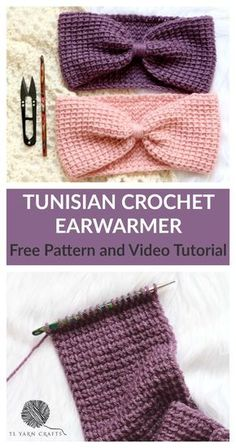 Free Tunisian Crochet Pattern and Video Tutorial Simple Tunisian Crochet Ear Warmer Pattern Free Crochet Pattern for Beginners Link to the Basics of Tunisian Crochet TL Yarn Crafts Crochet Ear Warmer Pattern, Tunisian Crochet Patterns, Crochet Headband Pattern, Knitting Patterns, Hat Crochet, Lace Patterns, Lace Knitting, Sewing Patterns, Crochet Baby