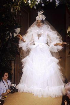 17 of Yves Saint Laurent's most beautiful wedding dresses of all time - Vogue Australia Most Beautiful Wedding Dresses, Classic Wedding Dress, White Wedding Dresses, Helen Rose, Yves Saint Laurent, Meghan Markle, Audrey Hepburn, Lady Diana Spencer, Vogue Paris