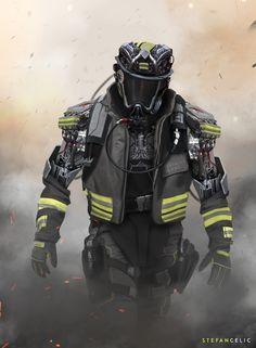 Mech Firefighter by Stefan Celic on ArtStation Firefighter Gear, Firefighter Quotes, Volunteer Firefighter, Firefighters, Firemen, Firefighter Training, Firefighter Pictures, Cyberpunk, Fire Dept