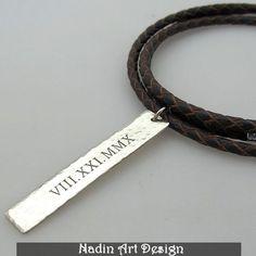 Geflochtene Lederkette mit Anhänger für Männer von NadinArtDesign auf DaWanda.com