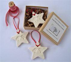 Three Ceramic Christmas Stars And Gift Box