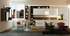 dos espacios de comida y de descanso en la cocina moderna