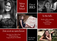 High School Graduation announcement - multiple photos - it tells what their plans are in the fall, too. Senior Graduation Invitations, Senior Graduation Quotes, Graduation Party Planning, Graduation Celebration, Graduation Photos, College Graduation, Graduation Caps, Grad Cap, Graduation Ideas