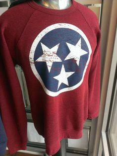 Red, White & Blue TN Flag Tri-Star on this tri-blend, vintage style sweatshirt from Nothing Too Fancy in Knoxville, TN. $35.95