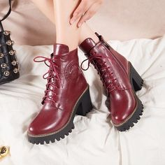 Women's Ladies Lace Up High Chunky Heel Creeper Ankle Boots Combat Platform US S #Unbranded #AnkleBoots #Casual